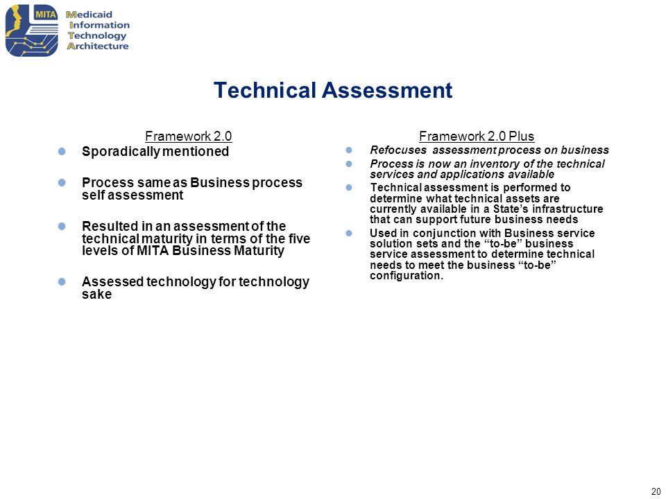 Technical Assessment Framework 2.0 Sporadically mentioned