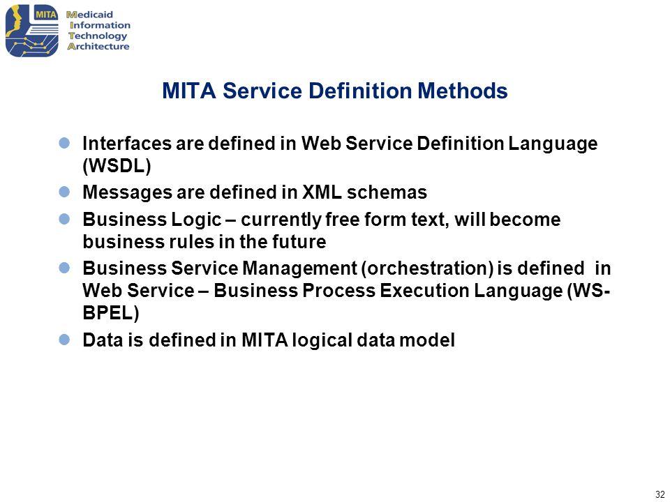 MITA Service Definition Methods