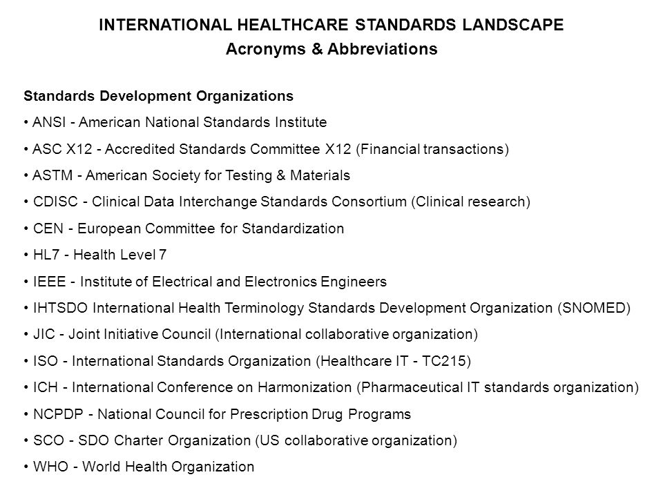 INTERNATIONAL HEALTHCARE STANDARDS LANDSCAPE Acronyms & Abbreviations