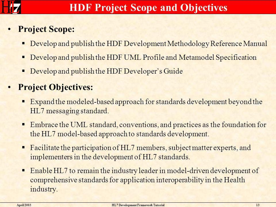 HDF Project Scope and Objectives