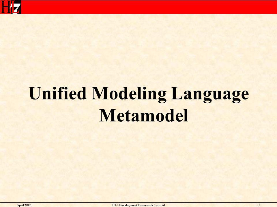 Unified Modeling Language Metamodel HL7 Development Framework Tutorial