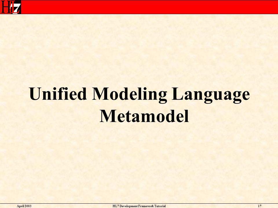Unified Modeling Language Metamodel HL7 Development Framework Tutorial