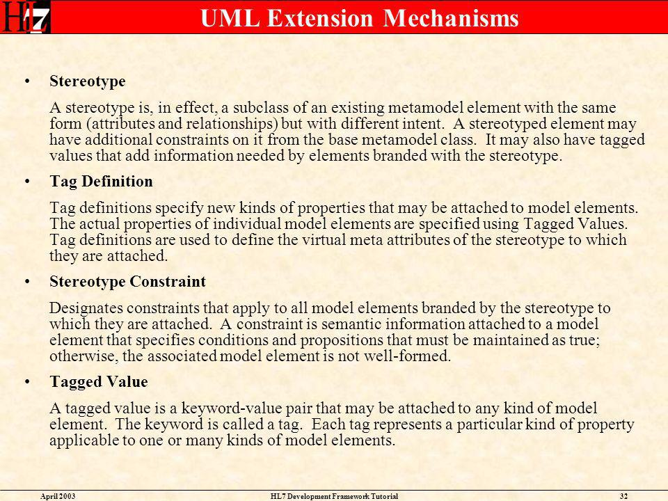 UML Extension Mechanisms