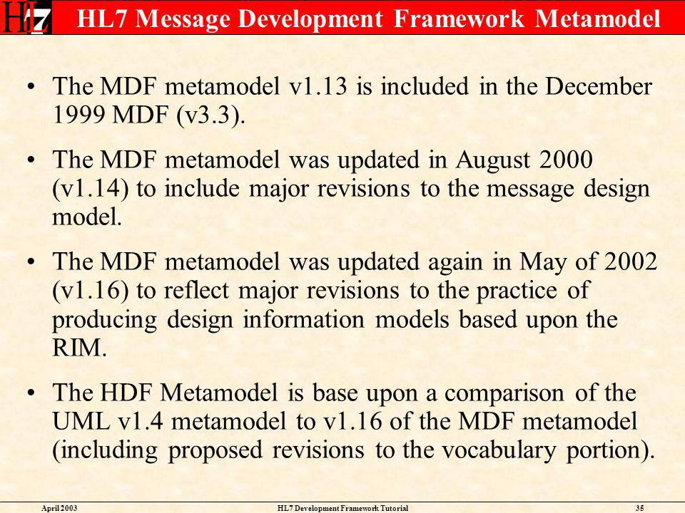 HL7 Message Development Framework Metamodel