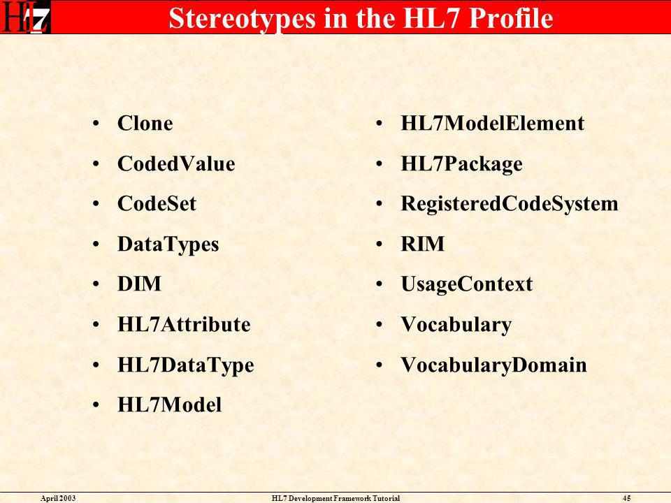 Stereotypes in the HL7 Profile