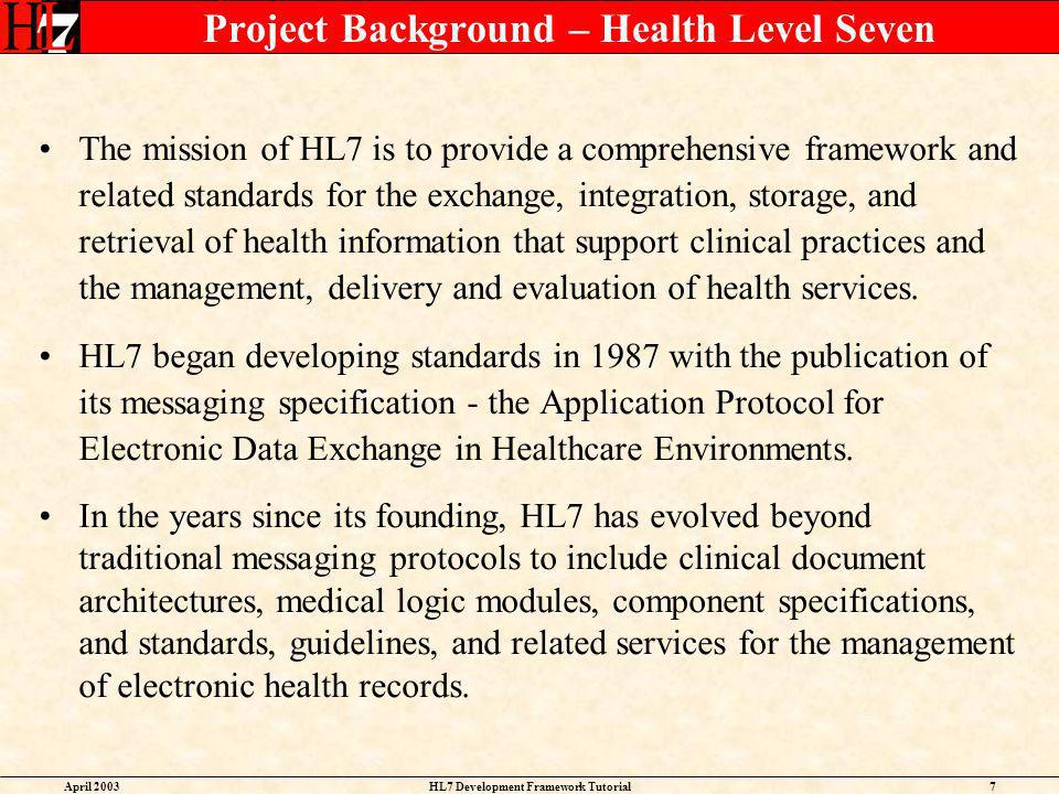 Project Background – Health Level Seven