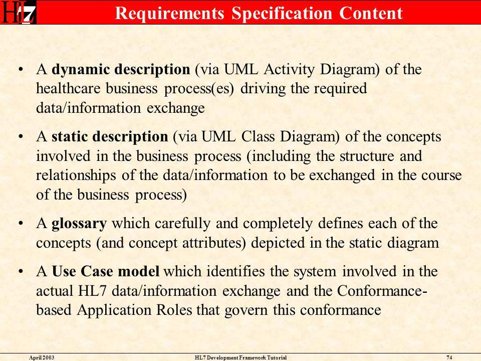Requirements Specification Content