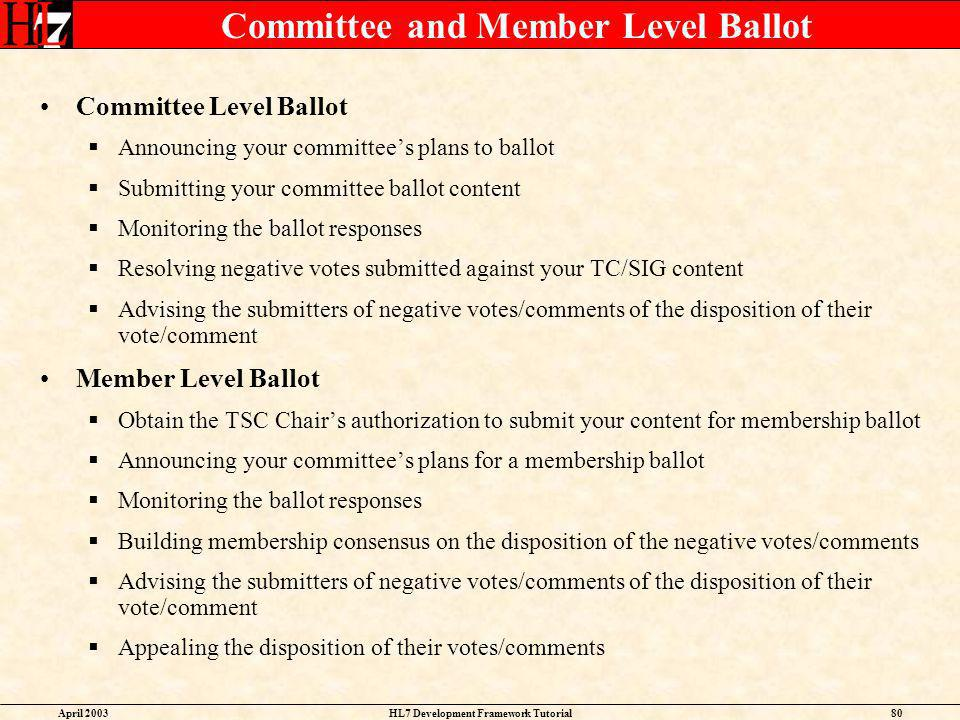 Committee and Member Level Ballot