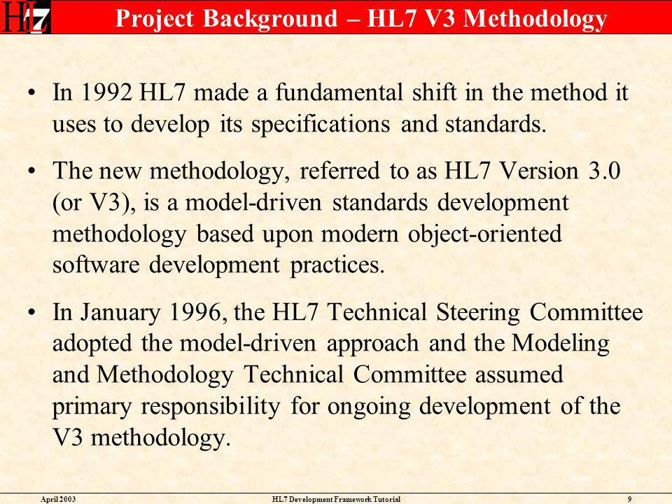 Project Background – HL7 V3 Methodology