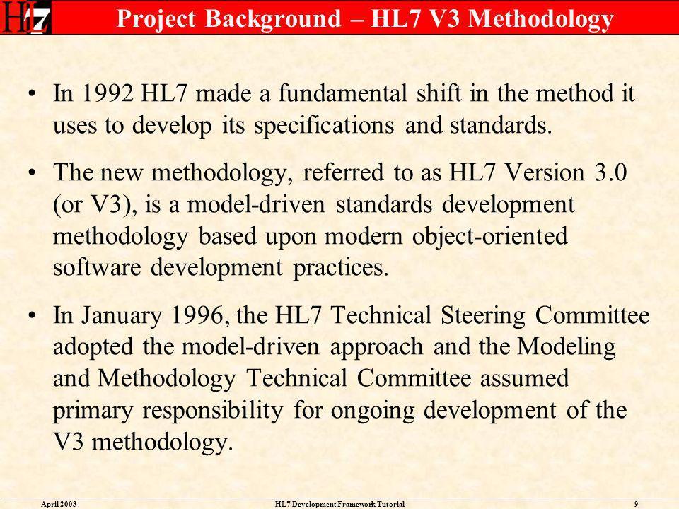 Project Background – HL7 V3 Methodology