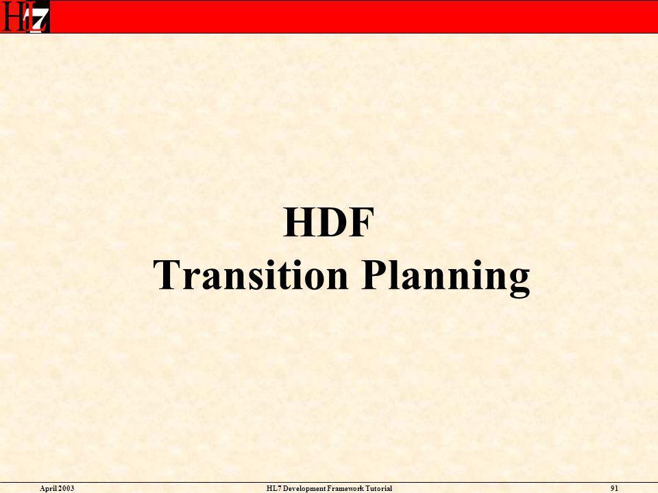HDF Transition Planning HL7 Development Framework Tutorial