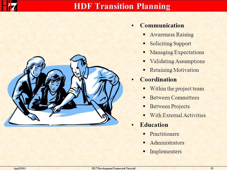 HDF Transition Planning