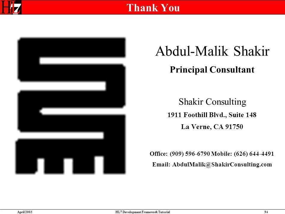 Abdul-Malik Shakir Thank You Principal Consultant Shakir Consulting