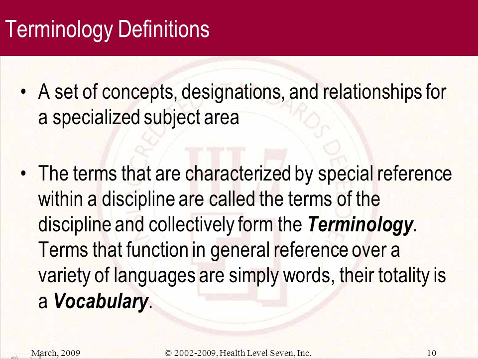Terminology Definitions