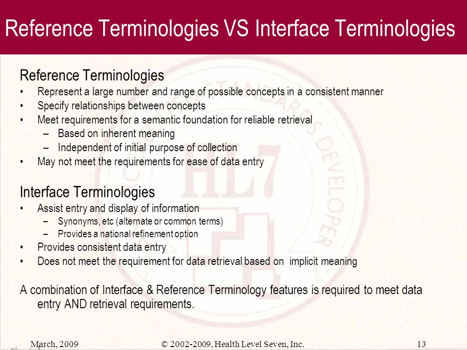 Reference Terminologies VS Interface Terminologies