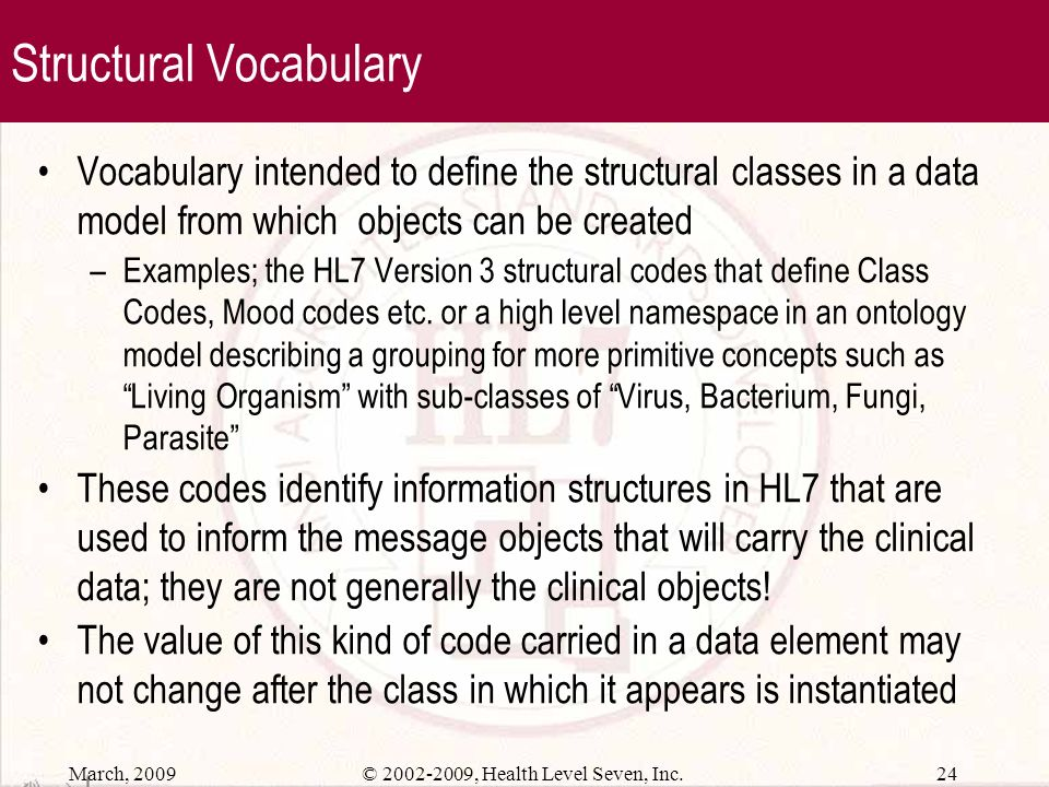 Structural Vocabulary