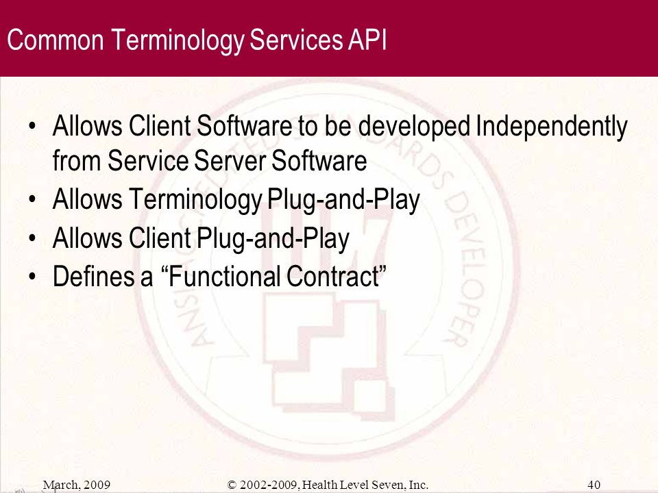 Common Terminology Services API