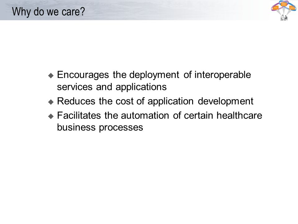 * 07/16/96. Why do we care Encourages the deployment of interoperable services and applications.