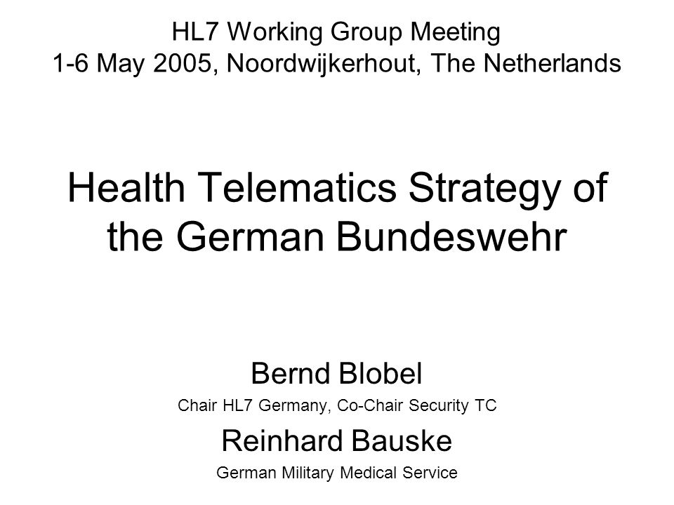 Health Telematics Strategy of the German Bundeswehr