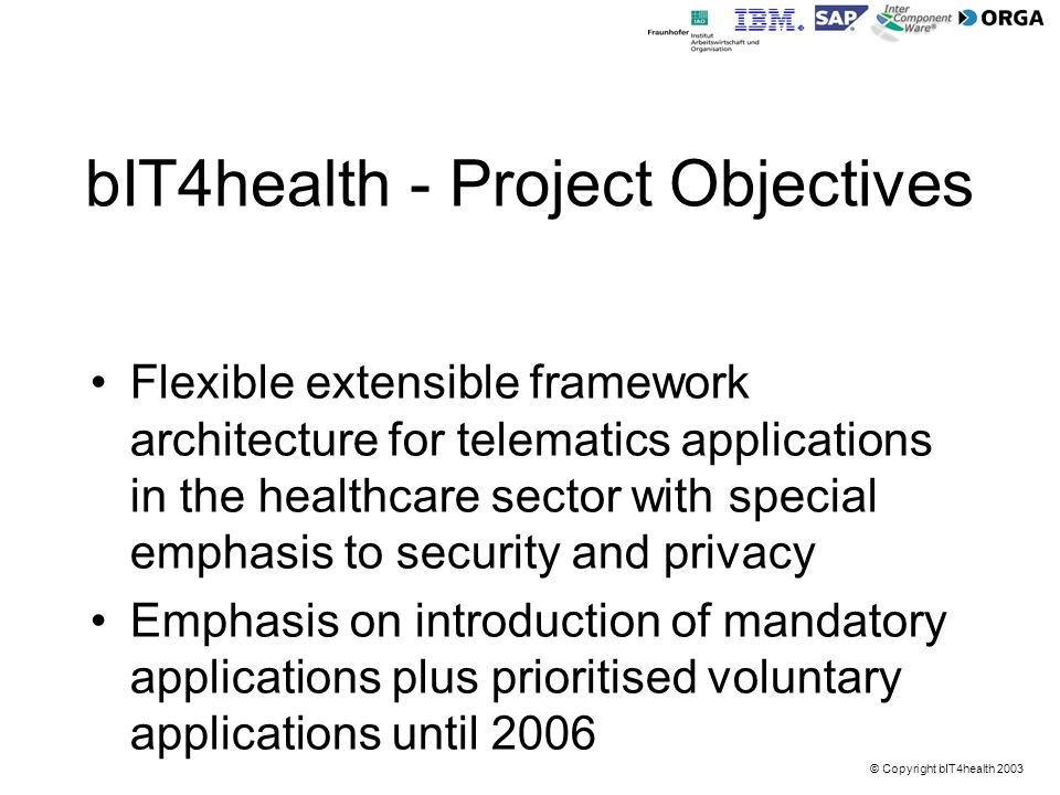 bIT4health - Project Objectives