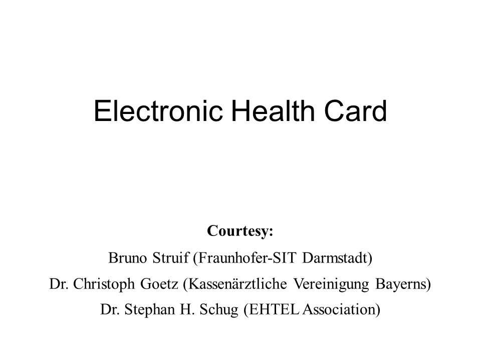 Electronic Health Card