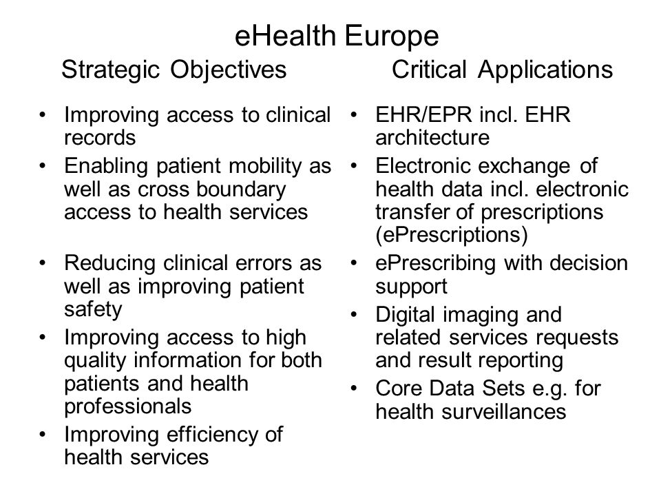eHealth Europe Strategic Objectives Critical Applications