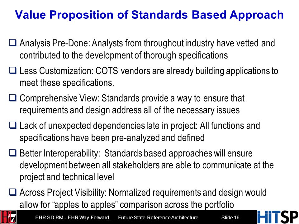 Value Proposition of Standards Based Approach