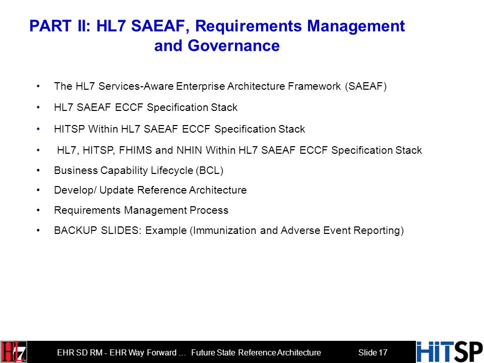 PART II: HL7 SAEAF, Requirements Management and Governance