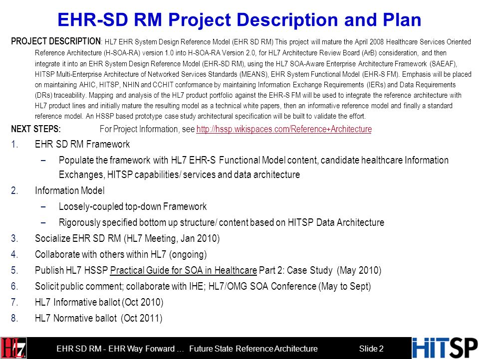 EHR-SD RM Project Description and Plan