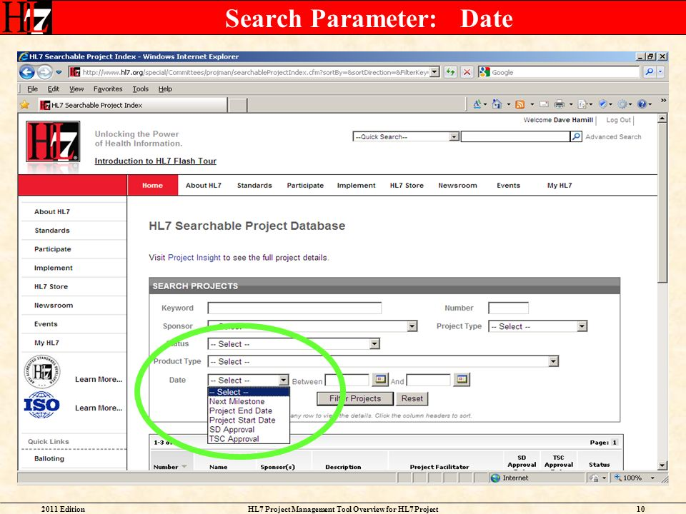 Search Parameter: Date