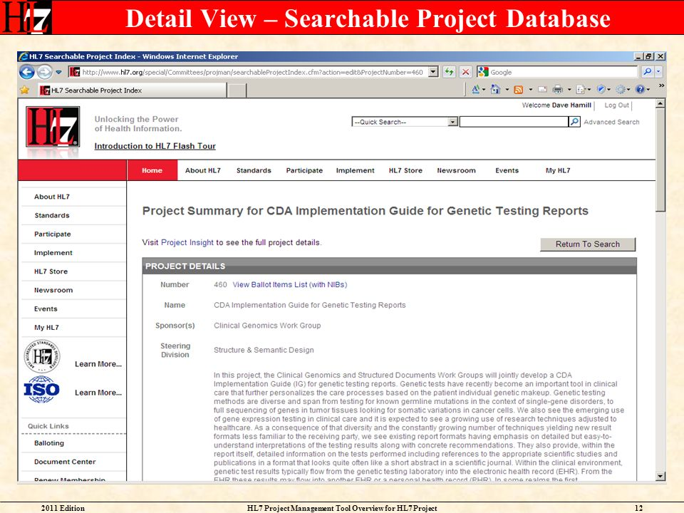 Detail View – Searchable Project Database