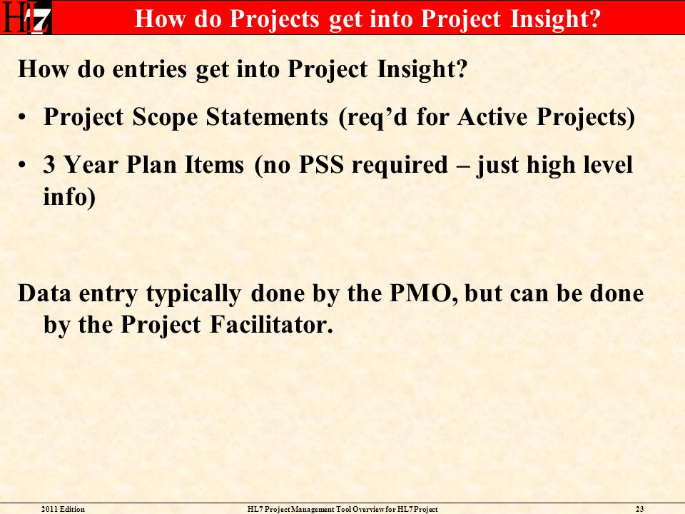 How do Projects get into Project Insight