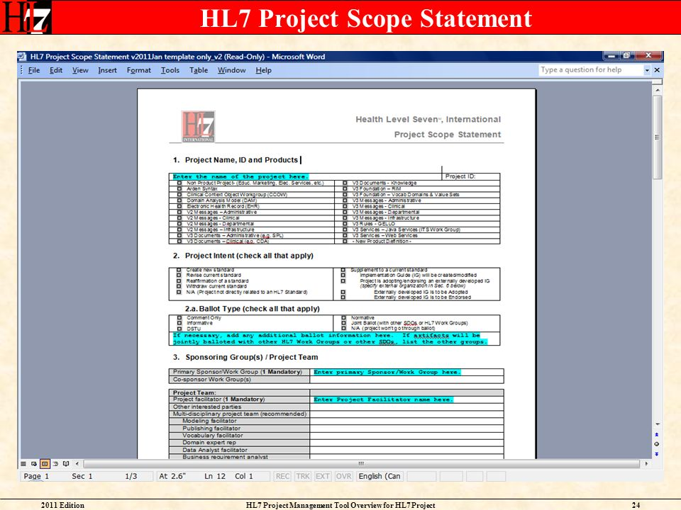 HL7 Project Scope Statement
