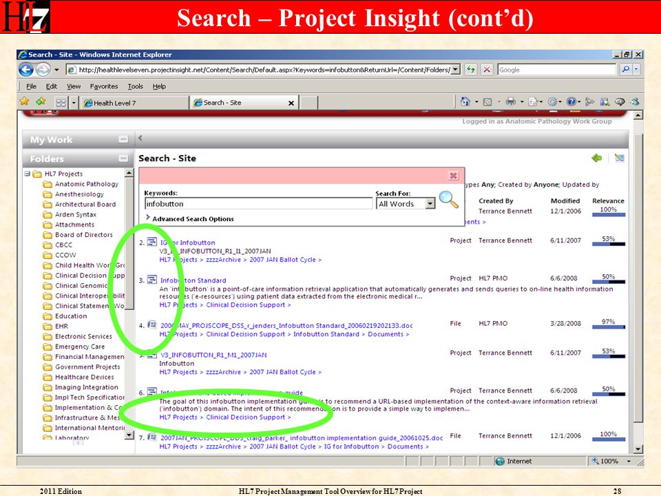 Search – Project Insight (cont'd)
