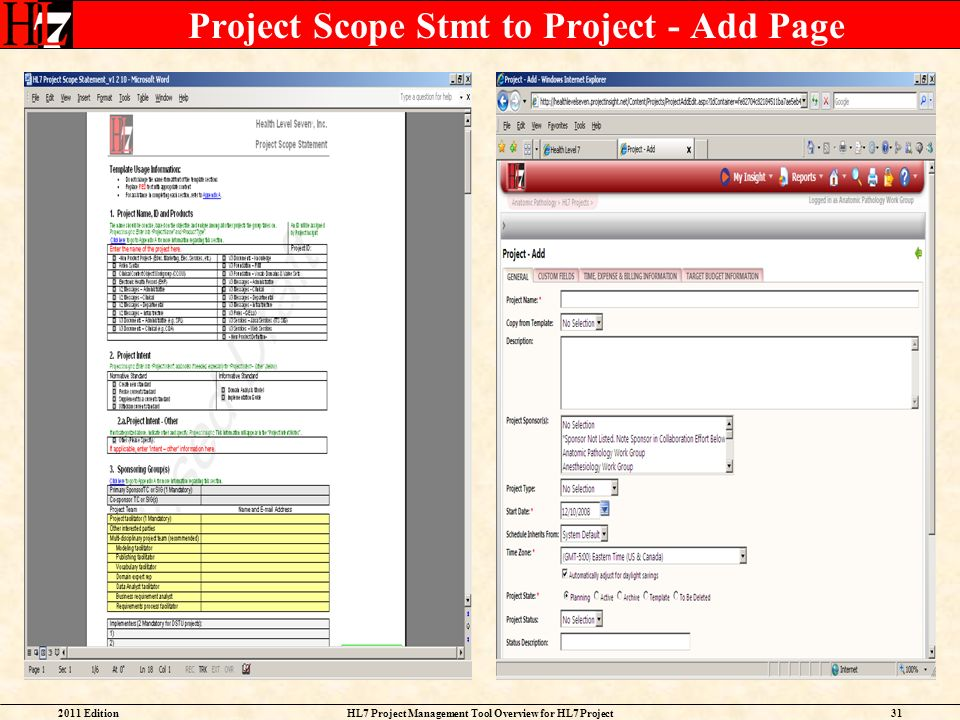 Project Scope Stmt to Project - Add Page