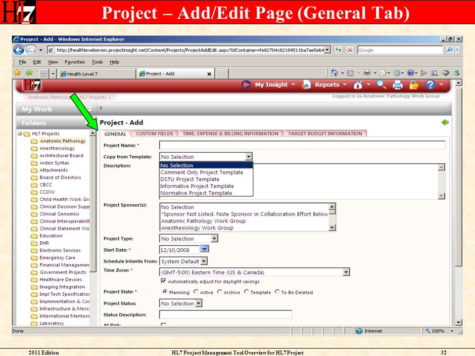Project – Add/Edit Page (General Tab)
