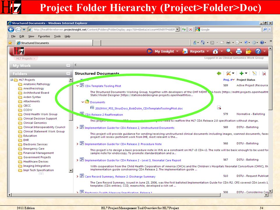 Project Folder Hierarchy (Project>Folder>Doc)