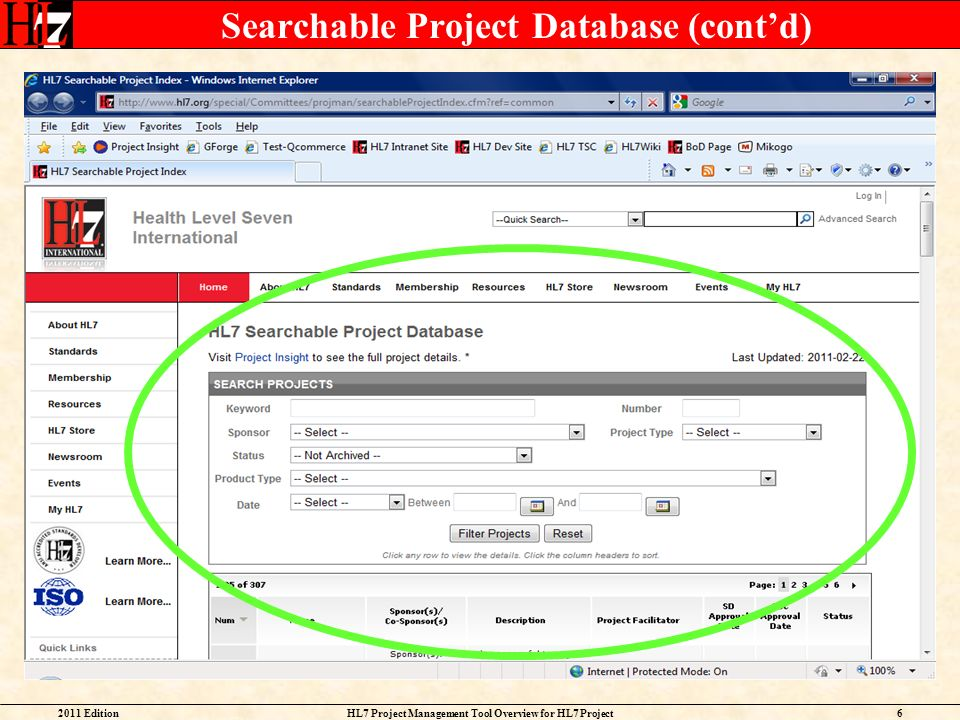 Searchable Project Database (cont'd)