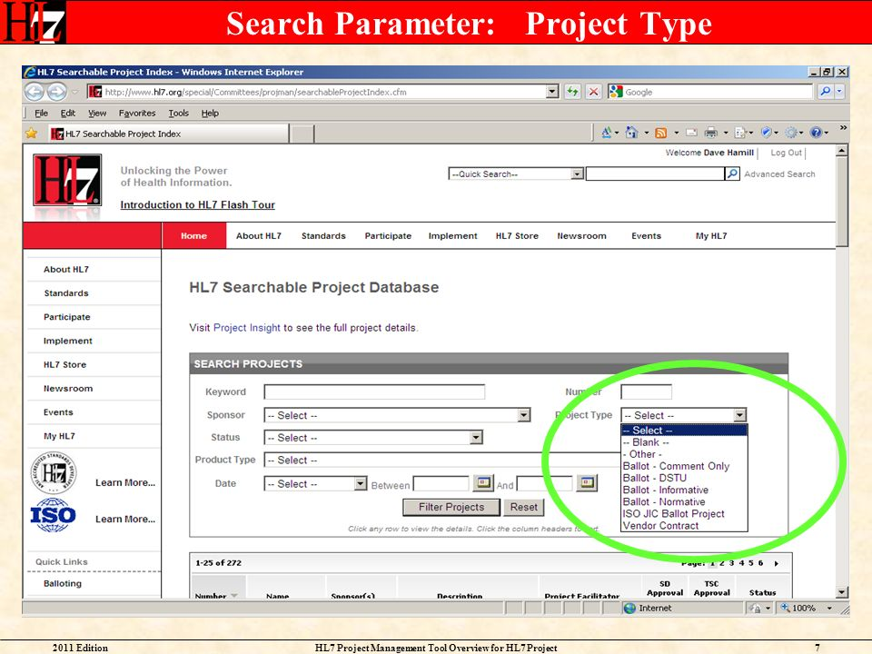 Search Parameter: Project Type
