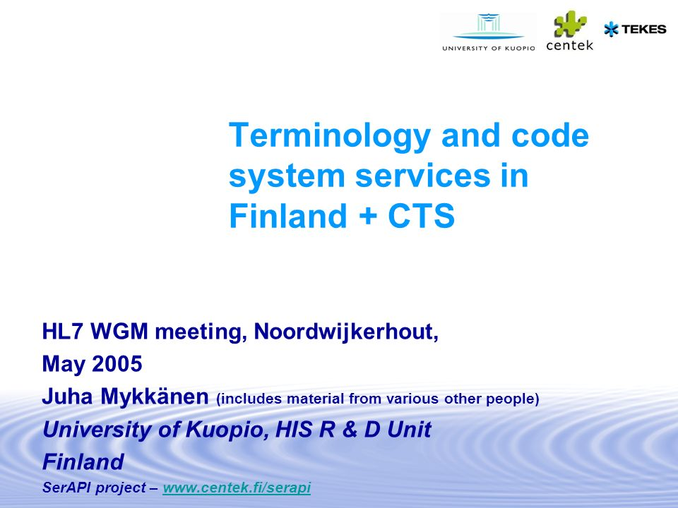 Terminology and code system services in Finland + CTS
