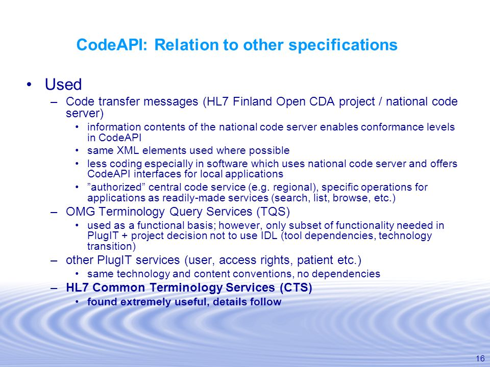 CodeAPI: Relation to other specifications