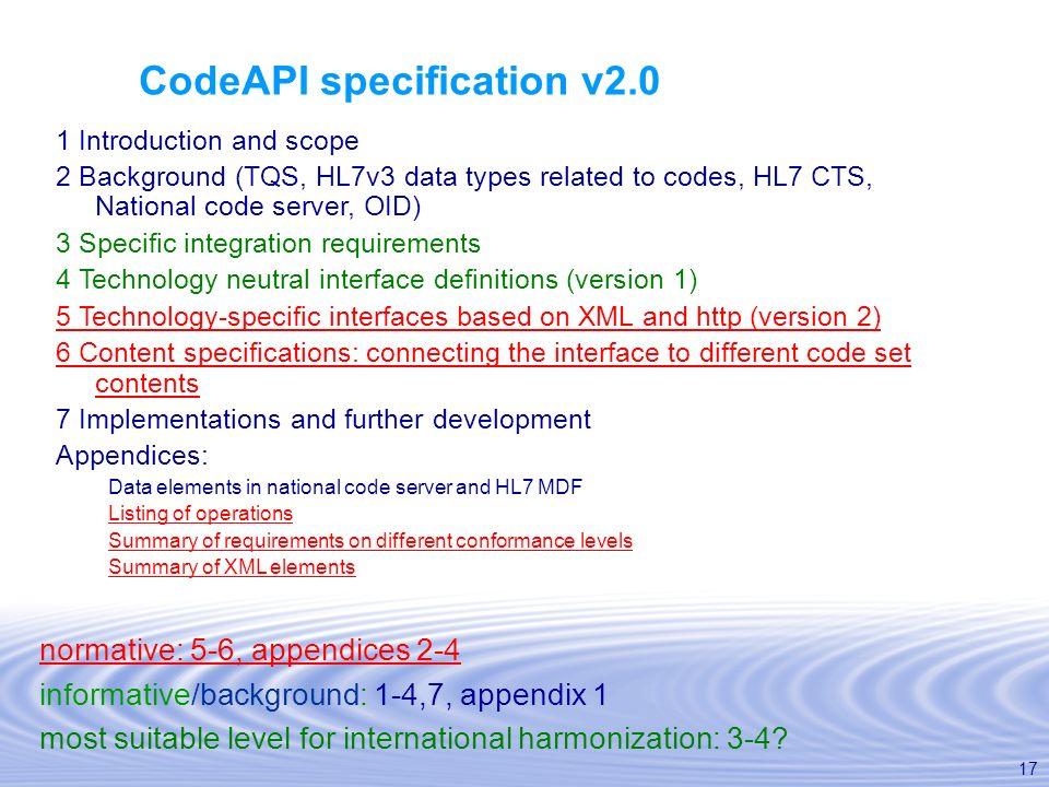 CodeAPI specification v2.0