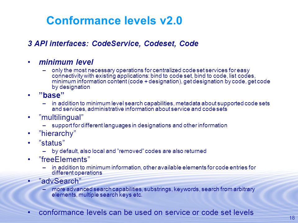 Conformance levels v2.0 3 API interfaces: CodeService, Codeset, Code