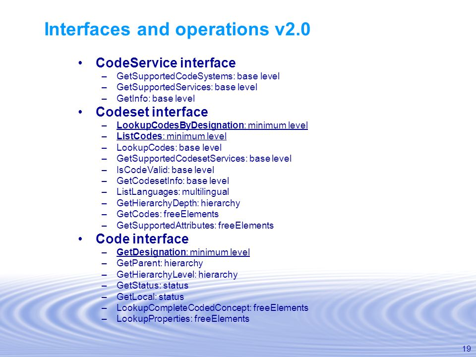 Interfaces and operations v2.0