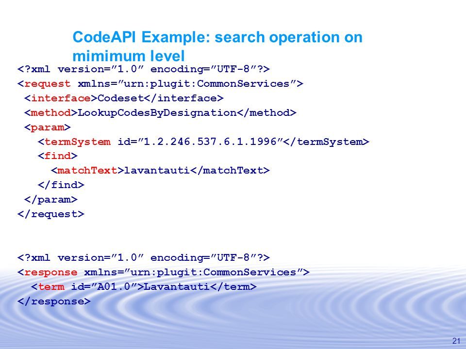 CodeAPI Example: search operation on mimimum level