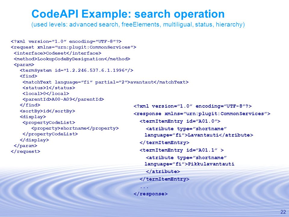 CodeAPI Example: search operation (used levels: advanced search, freeElements, multiligual, status, hierarchy)
