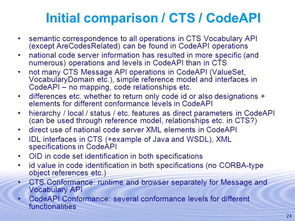 Initial comparison / CTS / CodeAPI