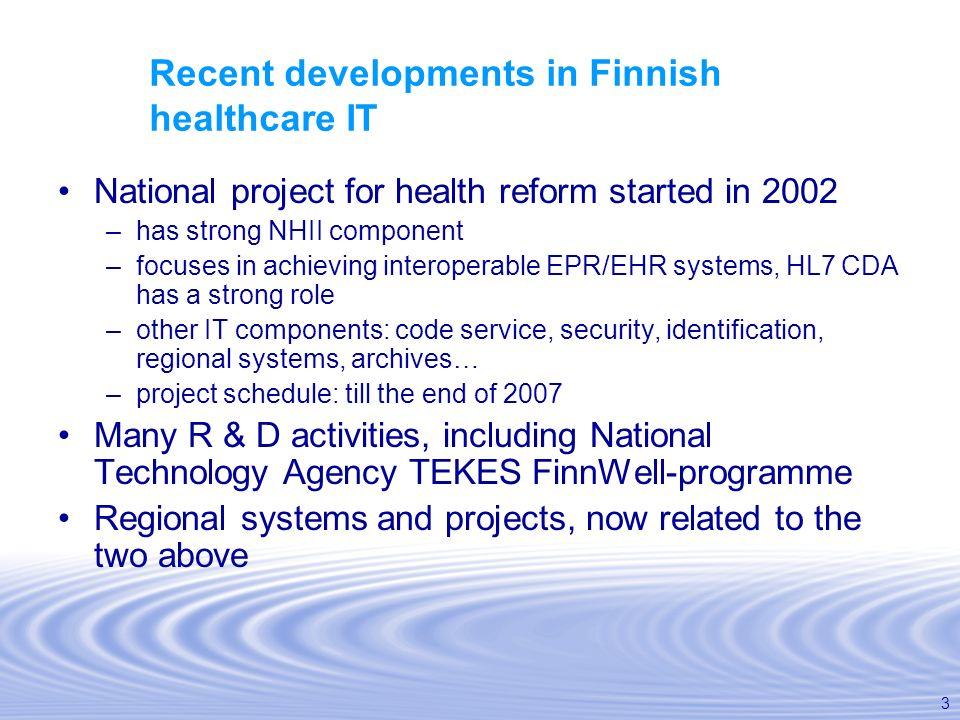 Recent developments in Finnish healthcare IT