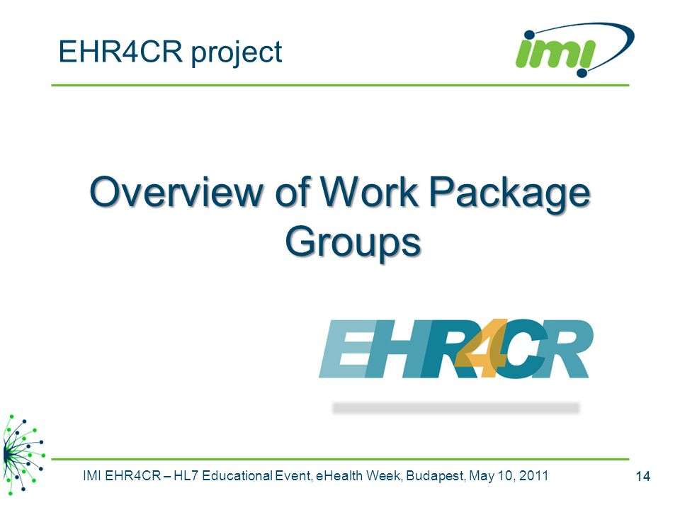 Overview of Work Package Groups