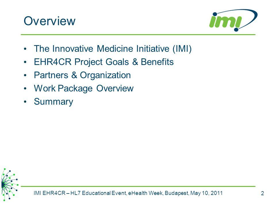 Overview The Innovative Medicine Initiative (IMI)